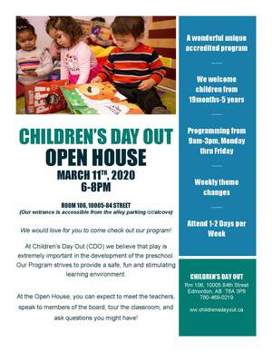 Children's Day Out Open House March 11@6pm