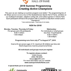 Saskatchewan Sports Hall of Fame Summer Programming!