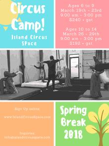 CIRCUS Spring Break Camp at Island Circus Space!